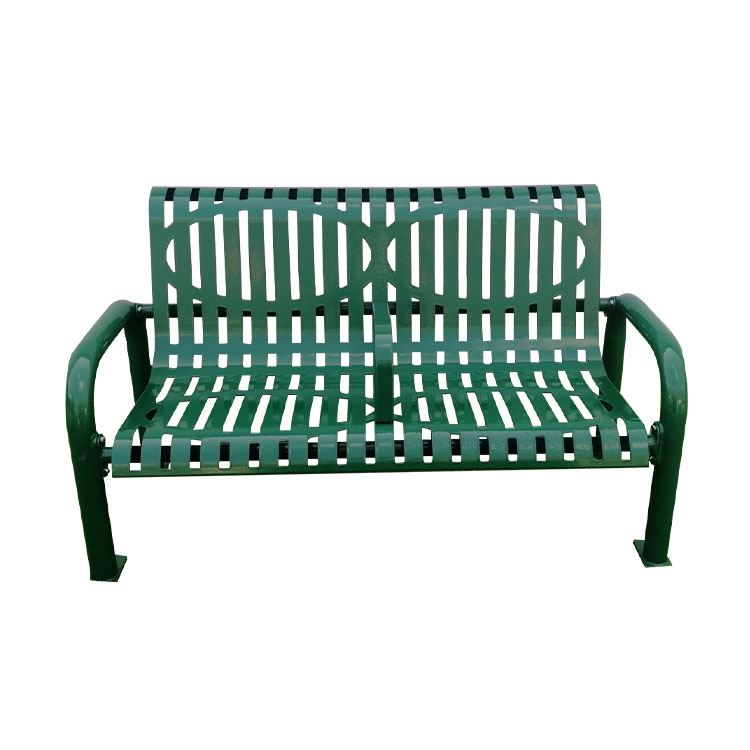 outdoor park benches powder coated steel seat