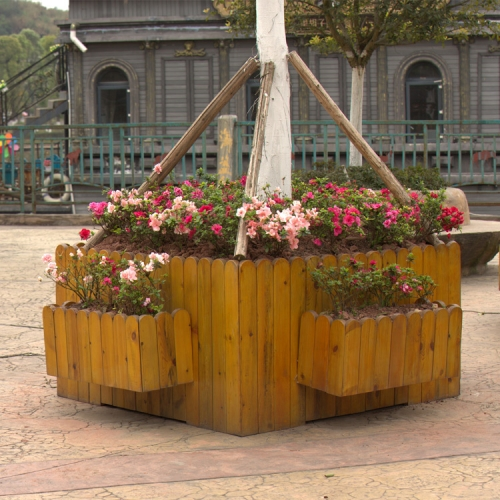 decorative outdoor wooden flower pots planters garden