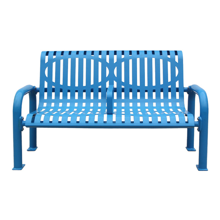 mid century modern blue rest bench
