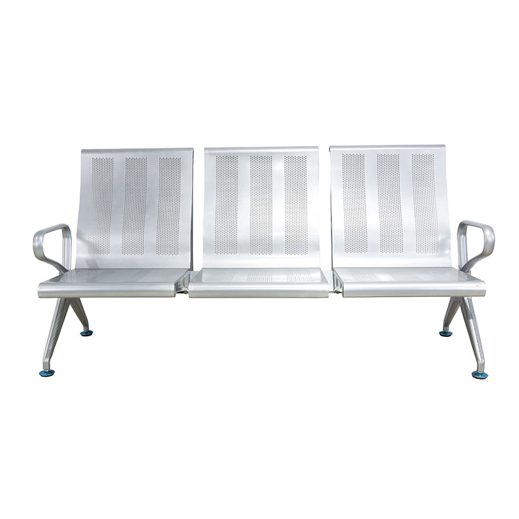 indoor 3-seater metal grey bench seat