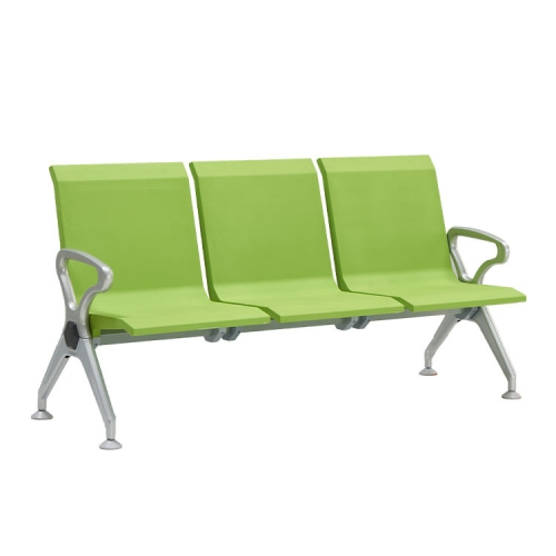 green benches with steel frame