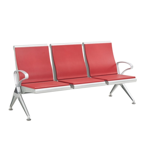 waiting high red 3 seater steel bench