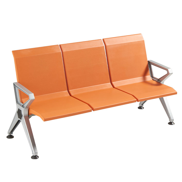 steel airport 3 seater orange waiting chair