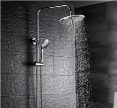 GuoJiangLong F008 Chrome Dual Function Pressure Balanced Shower Faucet with Rain Shower Head Hand Shower Slide Bar Lower Outlet of Shower Faucet