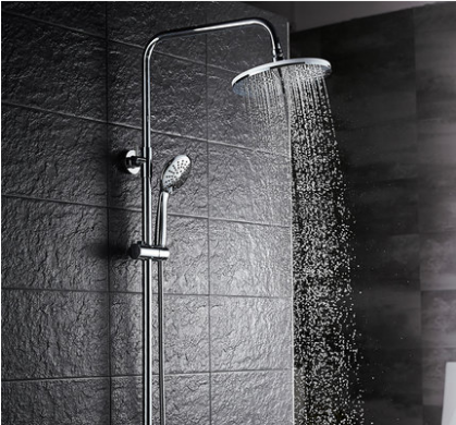GuoJiangLong F008 Chrome Dual Function Pressure Balanced Shower Faucet with Rain Shower Head Hand Shower Slide Bar Lower Outlet of Shower Faucet