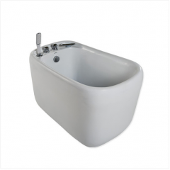 Jomoo Bathtubs Y030212 Acrylic Soaking Bathtub Freestanding Bathtubs with Waterfall Bathtub Faucet Hand Shower Baby Tub