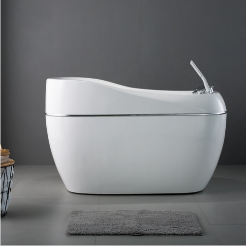 Jomoo Bathtubs Y071212 Acrylic Soaking Bathtub Small Freestanding Bathtub with Bathtub Faucet Hand Shower Baby Tub