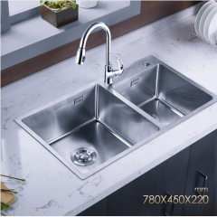 Jomoo ZH06159E Polished Chrome Double Basin Kitchen Sink Undermount Stainless Steel Sink With Pull Down Kitchen Faucet