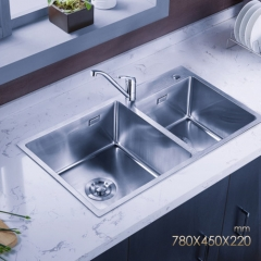 Jomoo ZH06159C Big Double Basin Kitchen Sink Combo Stainless Steel Sink Undermount With Brass Kitchen Faucet