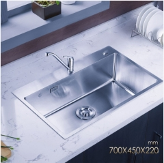 Jomoo ZH06158C Big Single Basin Kitchen Sink Stainless Steel Sink For Kitchen With Antique Brass Kitchen Faucet