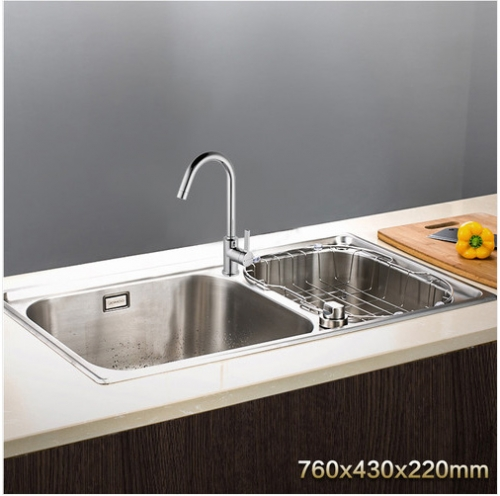 Jomoo ZH06108T-A Combo Double Basin Kitchen Sink Knob Control Water Countertop Kitchen Sink With Kitchen Faucets In Brushed Nickel