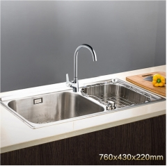 Jomoo ZH06108T-C Combo Double Basin Knob Control Water Kitchen Sink Stainless Steel  With Modern Kitchen Faucets