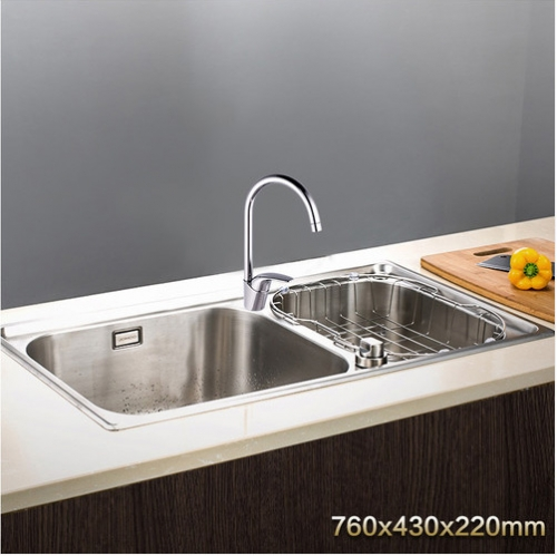 Jomoo ZH06108T-B Combo Big Double Bowl Kitchen Sink Knob Control Water Undermount Stainless Steel Sink With Single Handle Kitchen Faucet