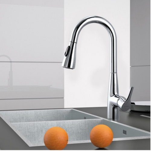 Jomoo 33098 Polished Chrome Stainless Steel Kitchen Faucet With Pull Down Kitchen Faucet