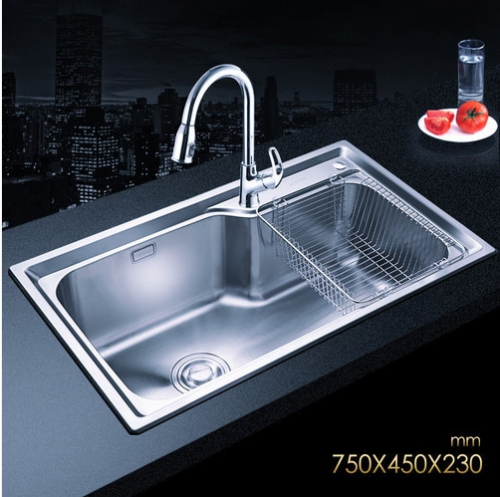 Jomoo SCZH06124C Combo Big Basin Stainless Steel Sink Undermount With Pull Down Kitchen Faucet