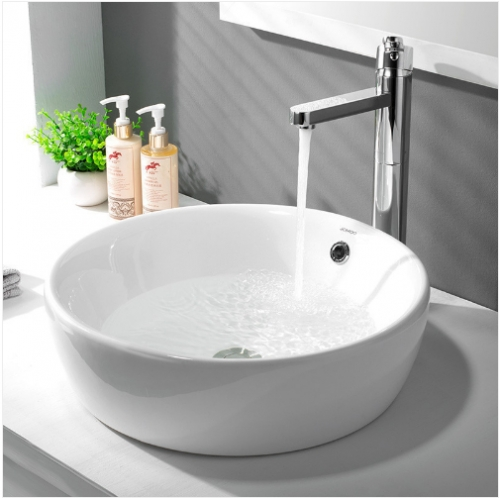 Jomoo Bathroom Sink 12135 Modern Bathroom Sinks White Ceramic Circular Top Mount Bathroom Sinks