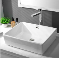 Jomoo Bathroom Sink 12517 White Ceramic Rectangular Top Mount Bathroom Sinks With Overflow Hole
