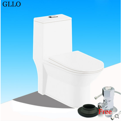 GLLO Toilet GL-T548B White Ceramic Dual Flush Elongated Toilet Seats Siphon Jet One Piece Toilet With Toilet Seat Slow Close