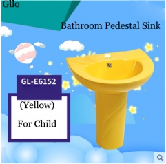 GLLO Bathroom Sink GL-E6152 Colorful Ceramic Bathroom Pedestal Sink For Children Modern Bathroom Sinks