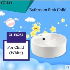 GLLO Bathroom Sink GL-E6251 Colorful Ceramic Round Top Mount Bathroom Sinks For Children