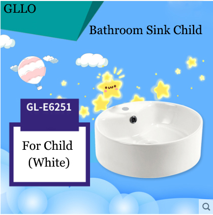 GLLO Bathroom Sink GL-E6251 Colorful Ceramic Round Top Mount Bathroom Sinks For Children