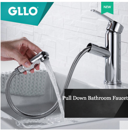 GLLO Bathroom Faucets GL-32IJ Polished Chrome Single Hole Bathroom Faucet With Pull Out Sprayer