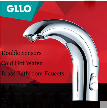 GLLO Bathroom Faucets GL-1301 Electric Infrared Double Sensor Brass Bathroom Faucets With Cold Hot Water Touchless Bathroom Faucet