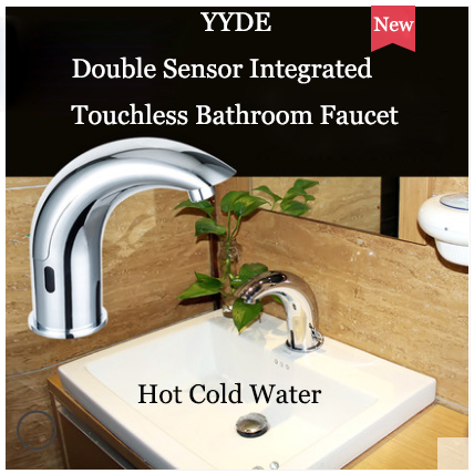 YYDE Bathroom Faucets DE-105 Infrared Double Sensors Touchless Bathroom Faucet Commercial Home Hot Cold Water Integrated Single Hole Bathroom Faucet