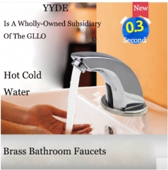 YYDE Bathroom Faucets DE-101 Polished Chrome Infrared Sensor Touchless Bathroom Faucet Commercial Home Hot Cold Water Modern Bathroom Faucets