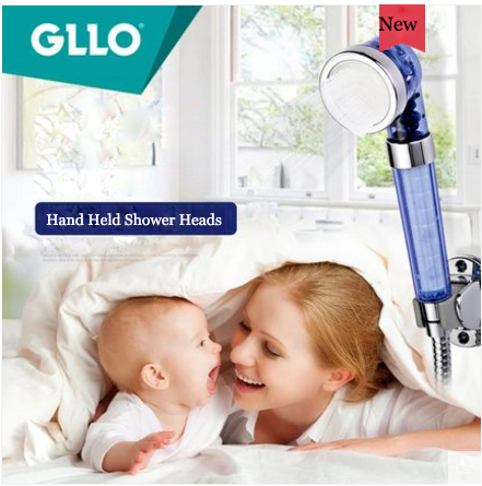 GLLO Shower Faucet GL-A109 High Pressure Handheld Shower Head With Cleaning Chlorine Out For Baby 3 Spray Best Shower Head