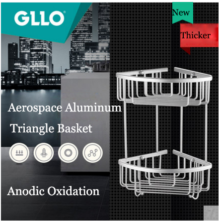 GLLO Bathroom Accessories GL-W2137 Wall Mounted Aluminum Magnesium Alloy Bathroom Shelf Corner Shelf For Bath Shampoo Triangle Basket Holder