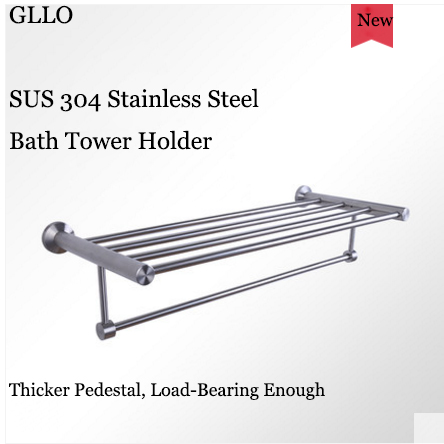 GLLO Bathroom Accessories GL-TW852D Wall Mount Stainless Steel Bath Tower Holder Toilet Paper Holder Toilet Brush Toilet Brush Holder Glass Cup