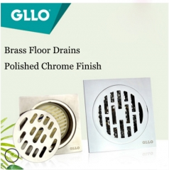 GLLO Accessories Floor Drains GL-TD106 Polished Chrome Brass Deodorization Stainless Steel Square Shape Bathroom Kitchen Balcony Shower Floor Drains