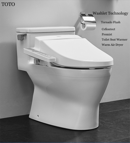TOTO Toilets CES6631A+TCF345C2CS TOTO Washlet Modern Toilets Stored Hot Tornado Flush One Piece Toilet With Bidet Toilet Seat 1.0 GPF