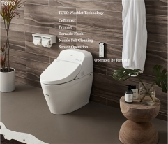 TOTO CES9433CS TOTO Washlet Dual Flush Auto Tornado Flush Auto Lid Stored Hot Water Intelligent One Piece Toilet With Toilet Seat Warmer 0.8 GPF