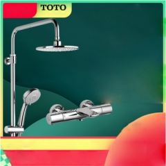 "TOTO Shower Faucet TBV01402BVD TOTO Dual Shower Head 1/2"" Thermostatic Mixing Valve Trim High Pressure Shower Heads With Handheld Shower Head 5 Spray"