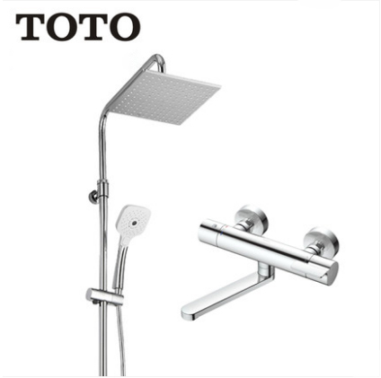 "TOTO Shower Faucet TBV03427B Dual Shower Head Tub Spout 1/2"" Thermostatic Mixing Valve Trim Shower Heads Rainfall With Handheld Shower Head 3 Spray"