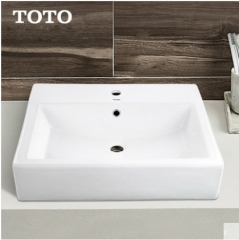 TOTO Bathroom Sink LW709B Single Hole Bathroom Vessel Sinks Cefiontect Ceramic Dual Hole Top Mount White Bathroom Sink