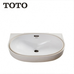 TOTO Bathroom Sink LW546BVD Dual Hole Bathroom Vanity Sinks TOTO Cefiontect Technology Undermount Bathroom Sinks Without Bathroom Sink Faucets Drainer
