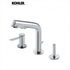 Kohler Bathroom Faucets 45758T Kohler Aleutian 3 Hole Bathroom Sink Faucet Pull Out Sprayer With Bathroom Sink Drain