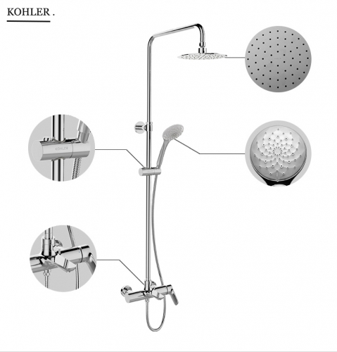 Kohler Shower Faucets 97825T Kohler Shower Head Aleo Pressure Balanced Shower System Rainfall Shower Head  Tub Spout Hand Held Shower Heads 3 Spray