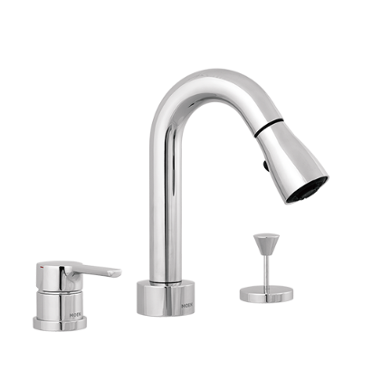 Moen Bathroom Faucets GN89121 Widespread Bathroom Faucet 2 Spray Pull Down Sprayer With Drain
