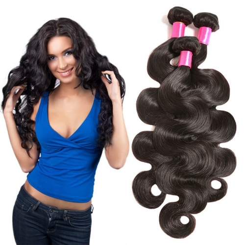 【Affordable 7A】8''-28'' 3 Bundles Brazilian Virgin Remy Human Hair Weft Body Wave Natural Color