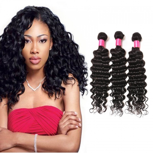 【Affordable 7A】8''-28'' 3 Bundles Brazilian Virgin Remy Human Hair Weft Deep Wave Natural Color