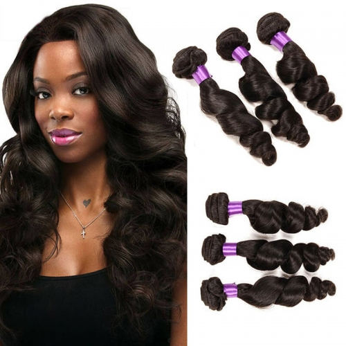 【Affordable 7A】8''-28'' 3 Bundles Peruvian Virgin Remy Human Hair Weft Loose Wave Natural Color