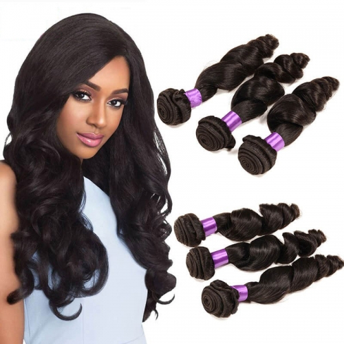 【Affordable 7A】8''-28'' 3 Bundles Indian Virgin Remy Human Hair Weft Loose Wave Natural Color
