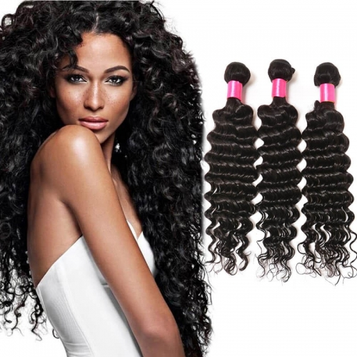 【Affordable 7A】8''-28'' 3 Bundles Malaysian Virgin Remy Human Hair Weft Deep Wave Natural Color
