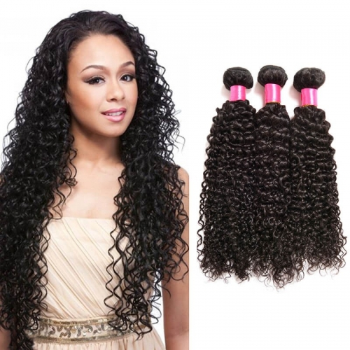 【Affordable 7A】8''-28'' 3 Bundles Brazilian Virgin Remy Human Hair Weft Kinky Curly Natural Color