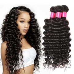 【Affordable 7A】8''-28'' 3 Bundles Indian Virgin Remy Human Hair Weft Deep Wave Natural Color