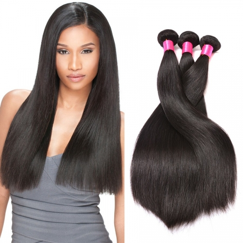 【Platinum 8A】8''-28'' 3 Bundles Brazilian Virgin Remy Human Hair Weft Silky Straight Natural Color
